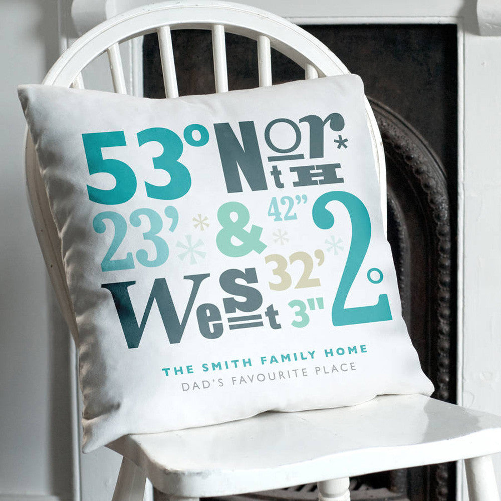 Personalised Coordinates Location Faux Suede Cushion