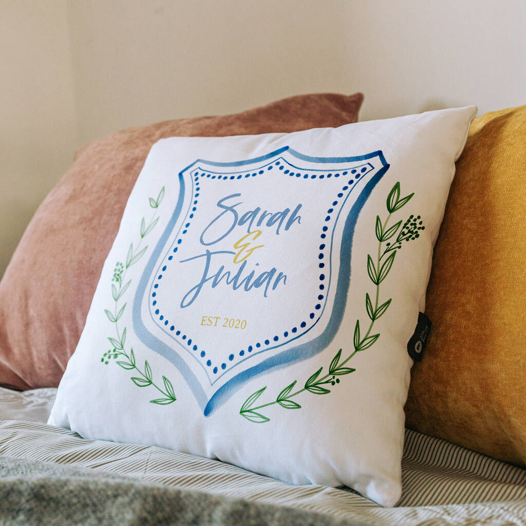 Personalised Organic Cotton Crest Cushion For Couple