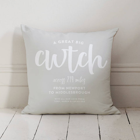 Personalised Cwtch Across The Miles Locations Cushion