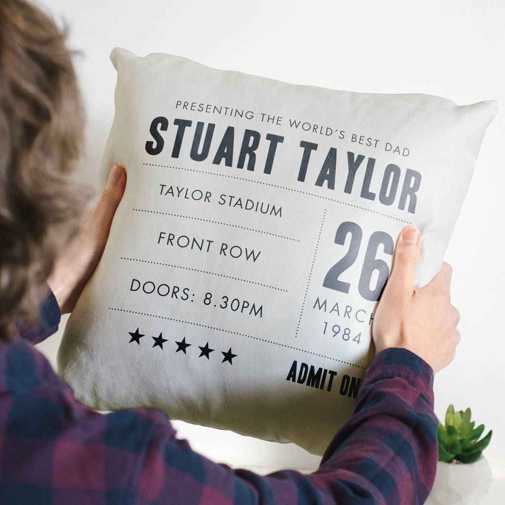 Personalised 'World's Best Dad' Gig Ticket Cushion Gift