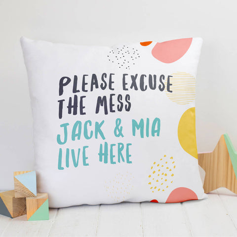 Personalised 'Excuse The Mess' Family Name Cushion