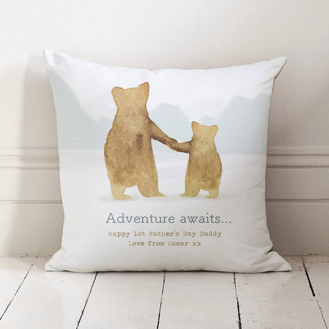 Personalised Father And Child Bear Cushion