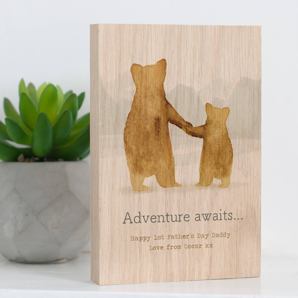 Personalised 'Parent And Child Bear' Solid Oak Block
