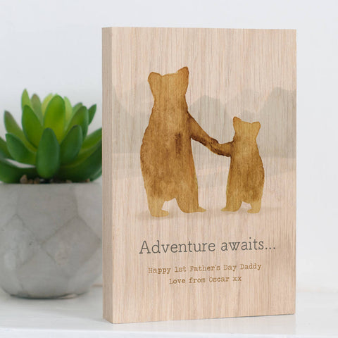 Personalised 'Father And Child Bears' Solid Oak Block