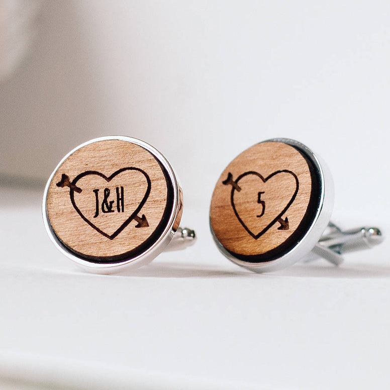 Personalised Fifth Wedding Anniversary Wooden Cufflinks