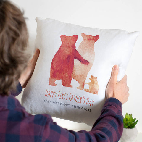Personalised First Father's Day Bear Family Cushion