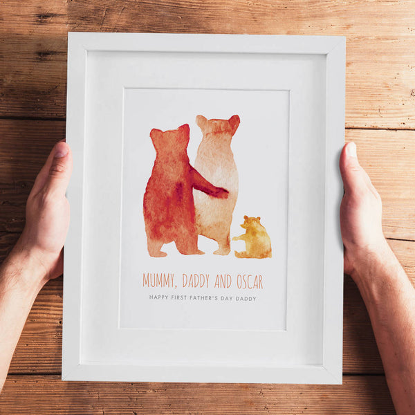 Personalised First Father's Day Bear Family Print