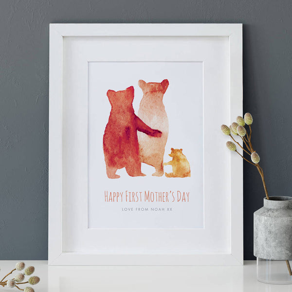 Personalised First Mother's Day 'Bear Family' Print