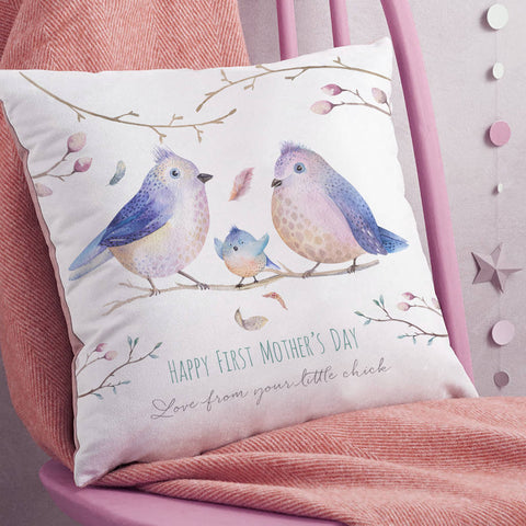 Personalised First Mother's Day 'Bird Family' Faux Suede Cushion