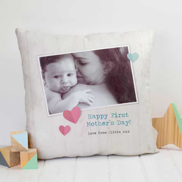 Personalised First Mother's Day Photo Cushion With Words