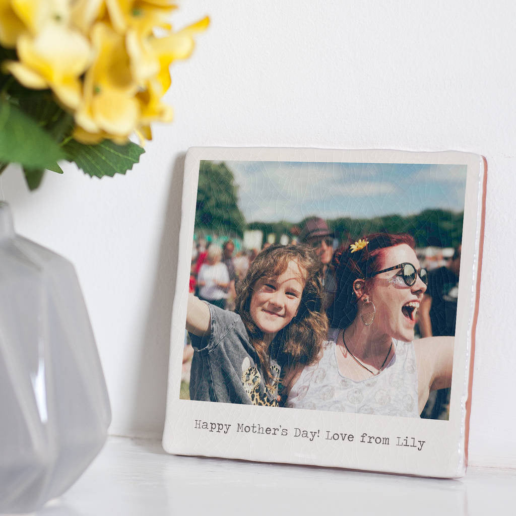 Personalised Glazed Ceramic Polaroid Photo Tile