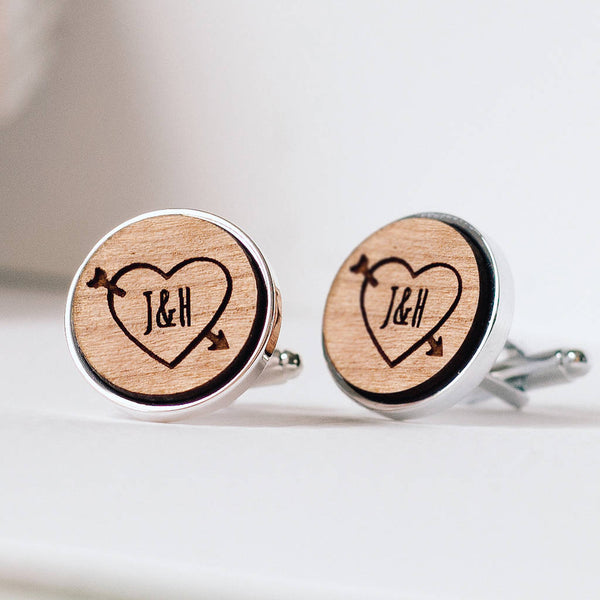 Personalised Heart And Initials Wood Anniversary / Wedding Cufflinks