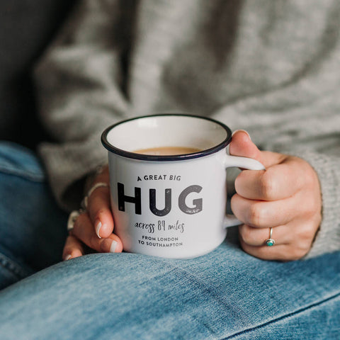 Personalised 'Hug Across The Miles' Ceramic Mug