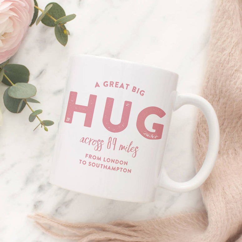 'A Hug across the Miles' Personalised Locations Mug
