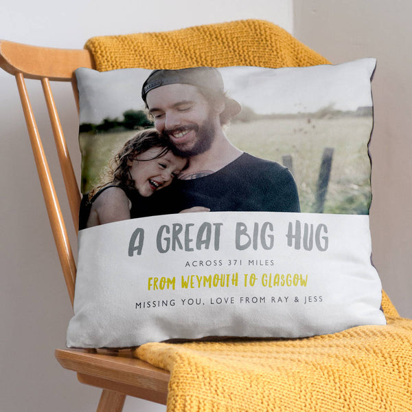 Personalised Big Hug Across The Miles Photo Cushion - Grey