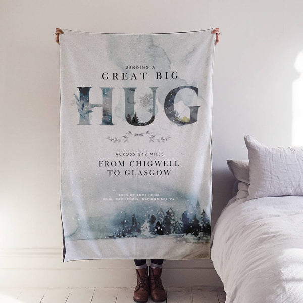 Personalised 'Hug Across The Miles' Winter Blanket