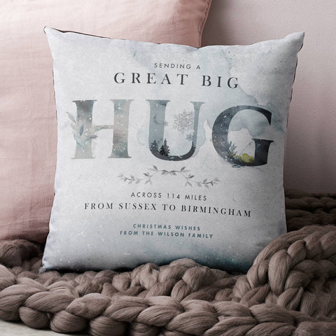 Personalised 'Hug Across The Miles' Winter Cushion