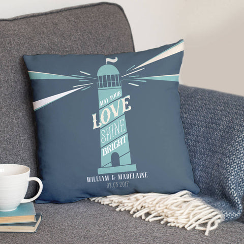 Personalised Lighthouse Cushion For Couples