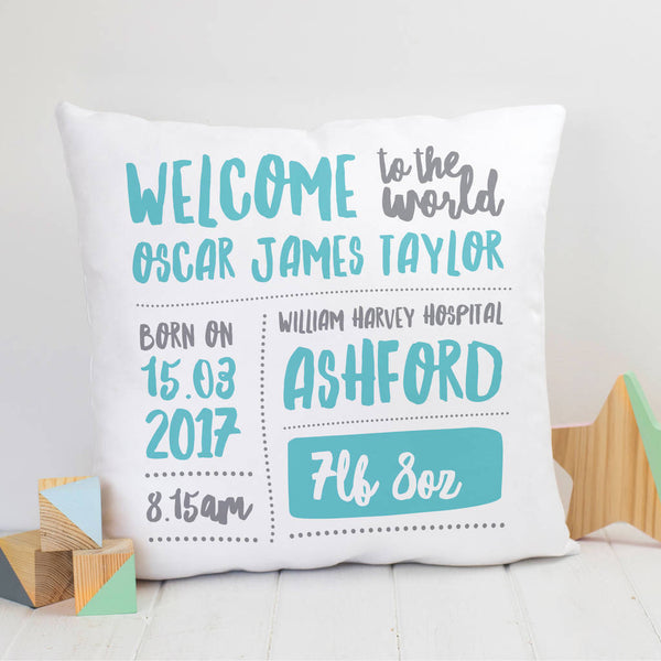 Personalised New Baby Gift Nursery Cushion