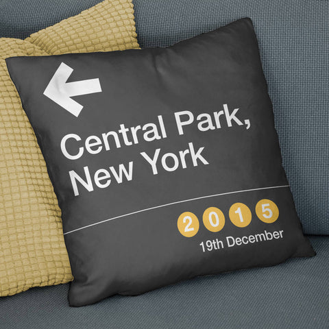 Personalised New York Subway Sign Location Cushion