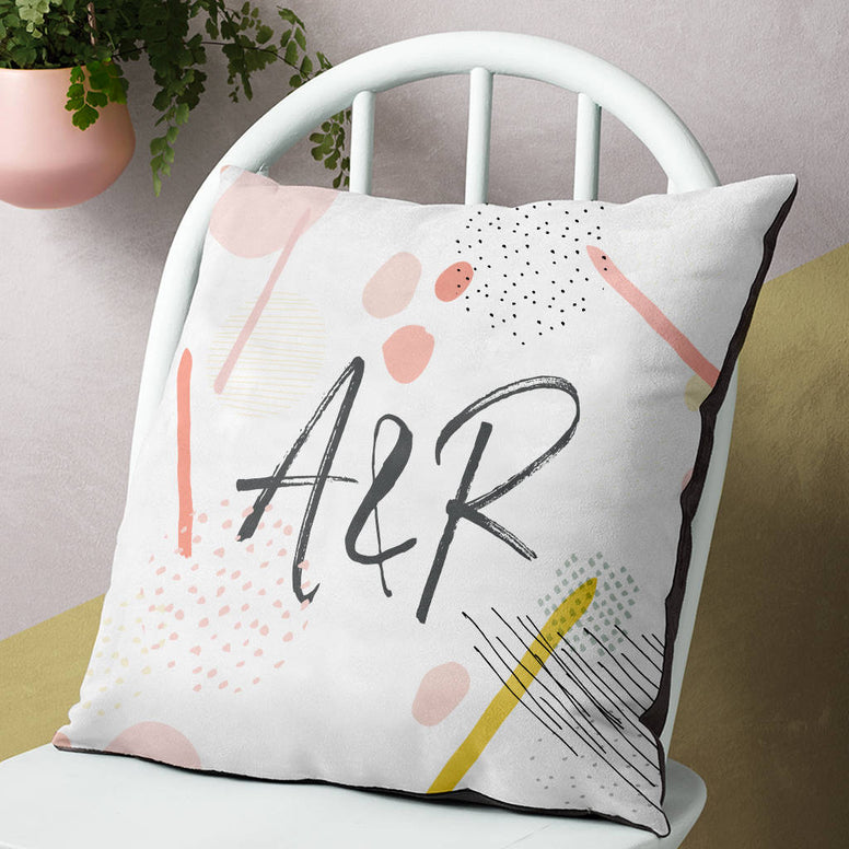 Personalised Patterned Couple's Initials Cushion