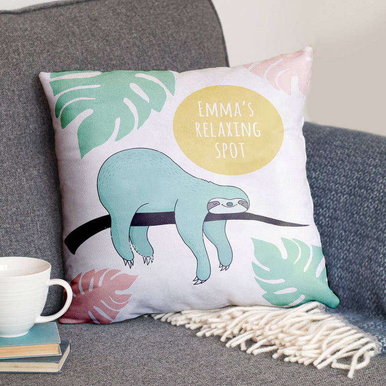 Personalised 'Relaxing Spot' Sloth Cushion