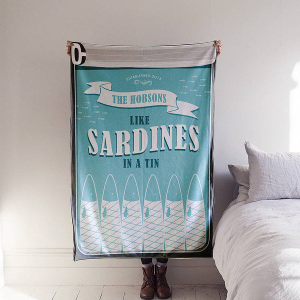 Personalised 'Sardines in a tin' Family Blanket