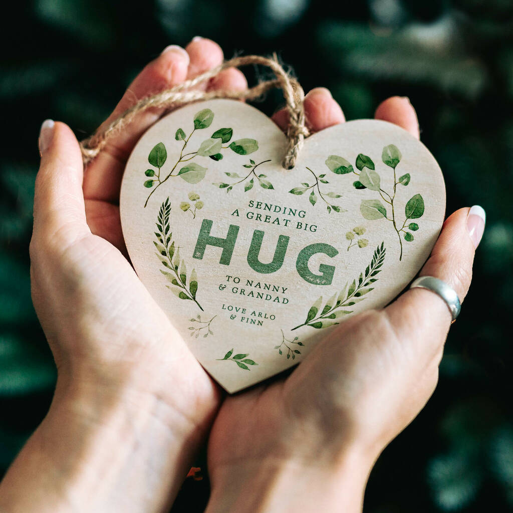 Personalised 'Sending A Hug' Wooden Heart Decoration