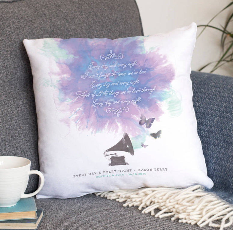 Personalised Song Lyrics Faux Suede Cushion