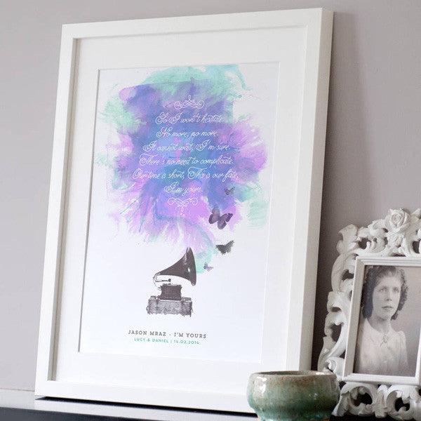Personalised Song Lyrics Print