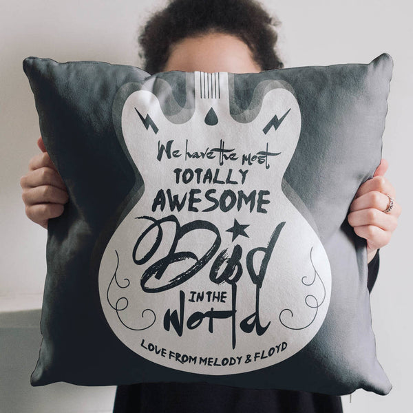Personalised Totally Awesome Dad Guitar Cushion