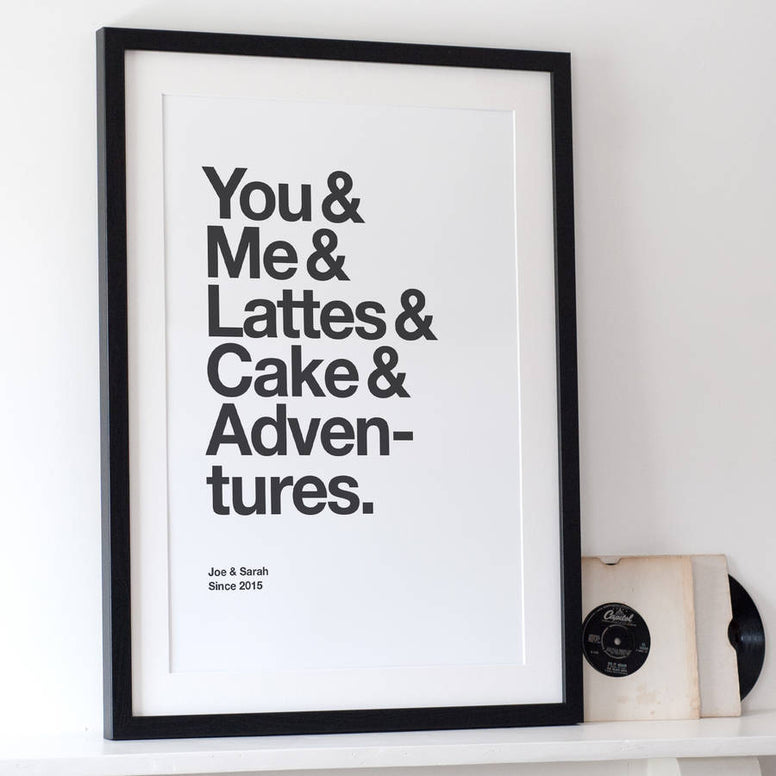 Personalised Typographic 'Favourite Things' Print