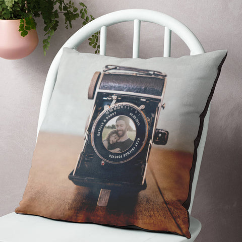 Personalised Vintage Camera Lens Photo Cushion