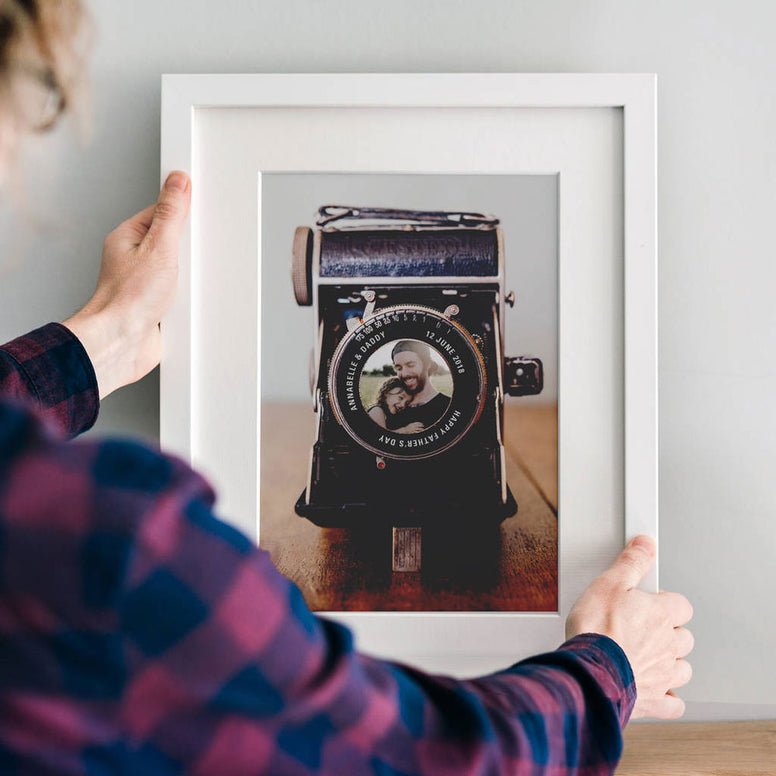 Personalised Vintage Camera Lens Photo Print