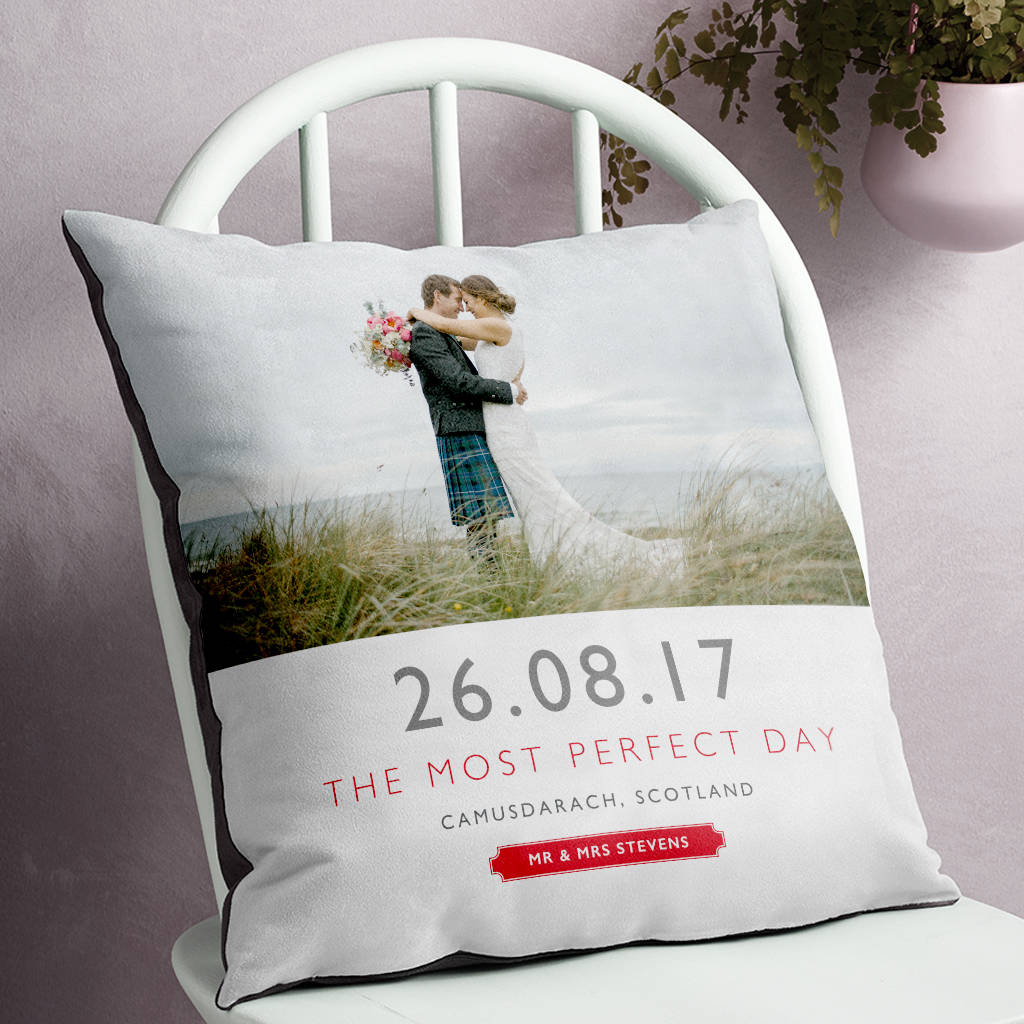 Personalised Wedding Date And Location Photo Cushion