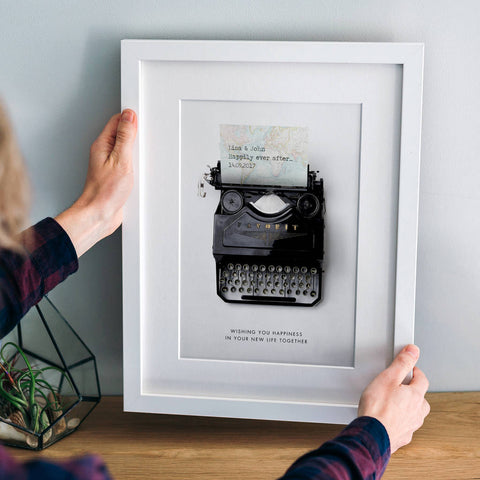 Personalised Wedding Date And Message Typewriter Print
