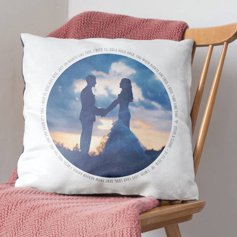 Personalised Wedding Song Lyrics Photo Cushion