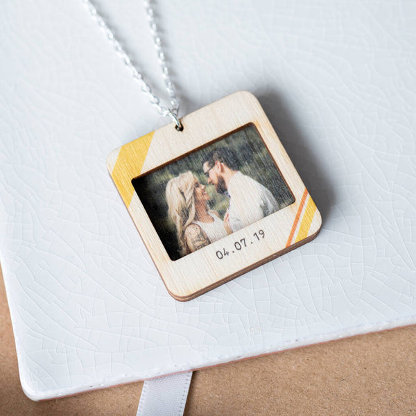 Personalised Wooden Retro Slide Photo Necklace