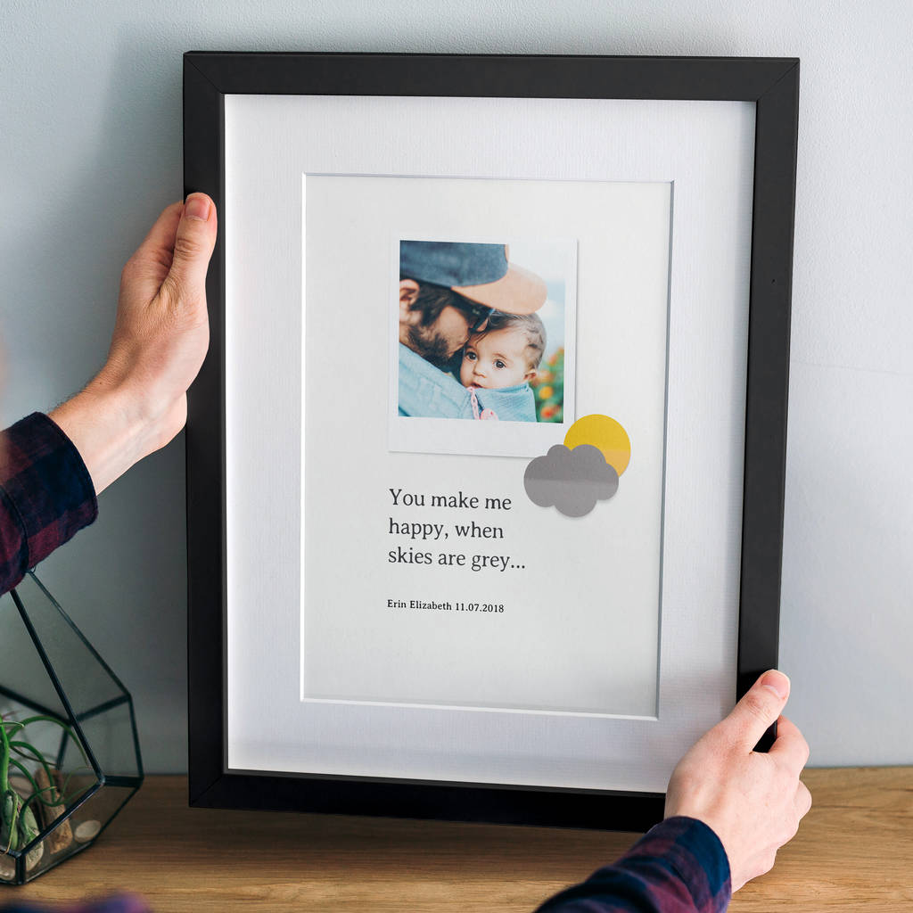 Personalised 'You Make Me Happy…' Photo Print For Baby