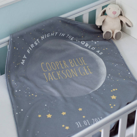 Phase Of Moon And Star Sign Personalised Baby Blanket