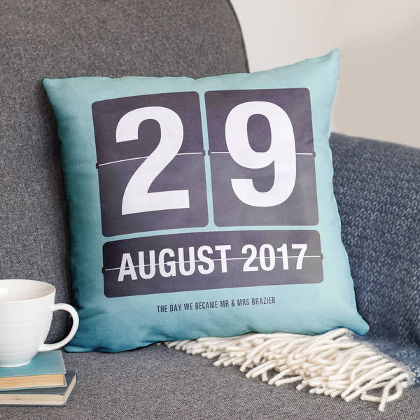 Special Date Flip Calendar Personalised Cushion