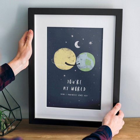 'You're My World' Personalised Planets Print