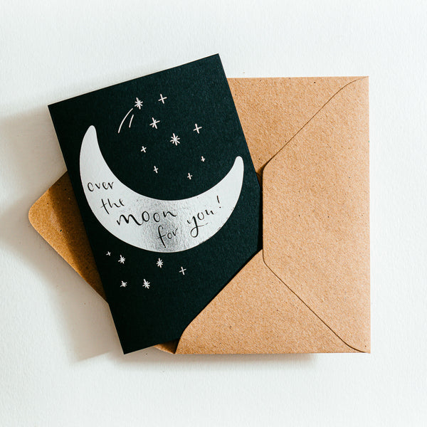 'Over The Moon For You' Recycled Coffee Cup Card