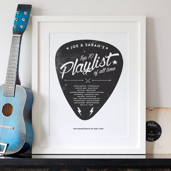 Personalised Playlist Guitar Pick Print