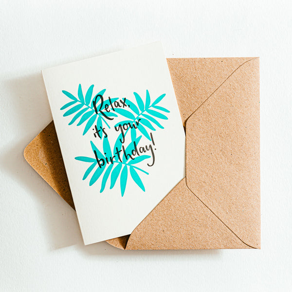 'Relax it's your Birthday' Recycled Coffee Cup Card