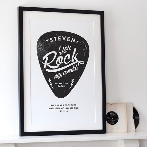 Personalised 'You Rock my World!' Print