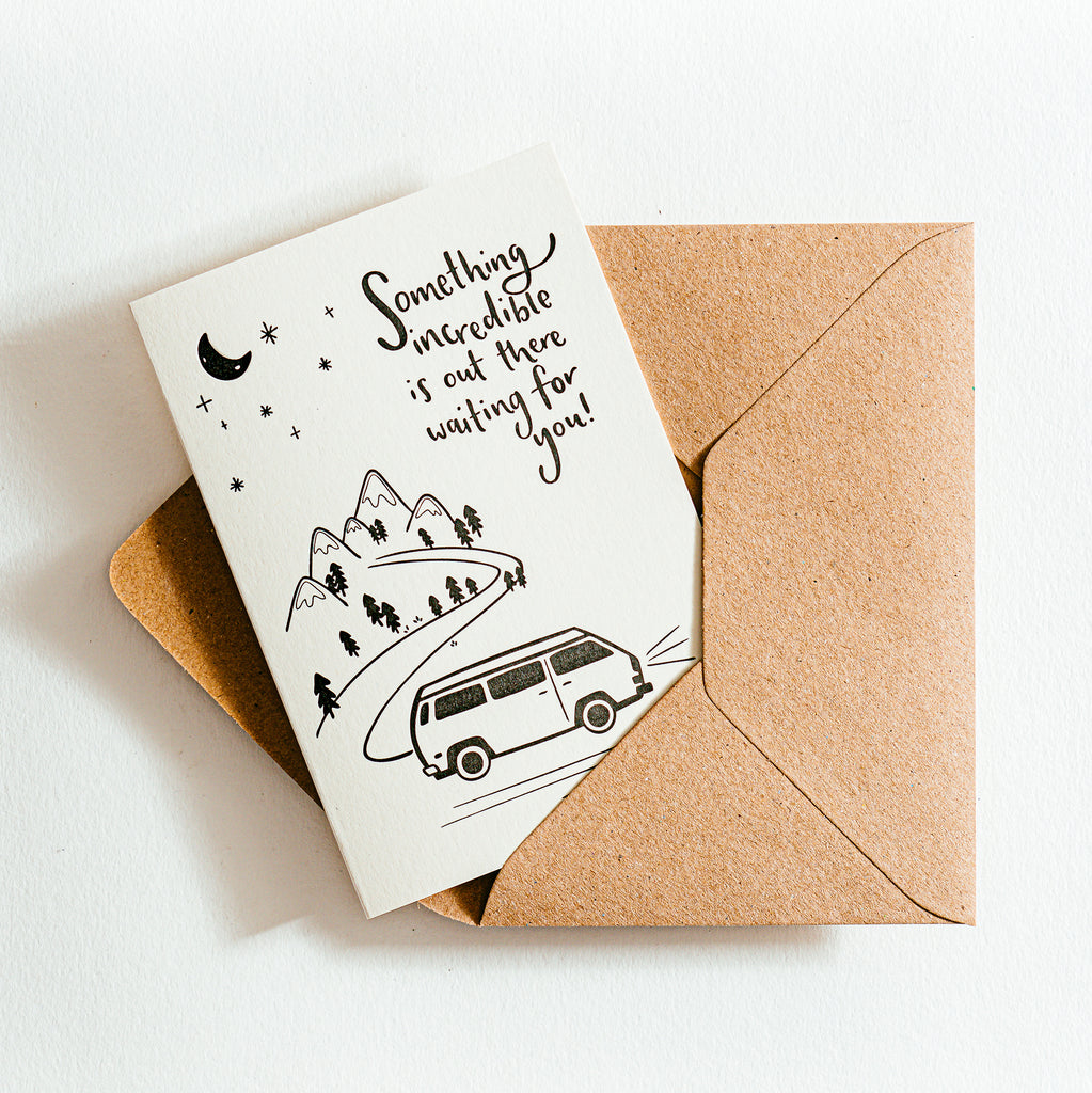 'Something Incredible Is Out There Waiting For You' Recycled Coffee Cup Card