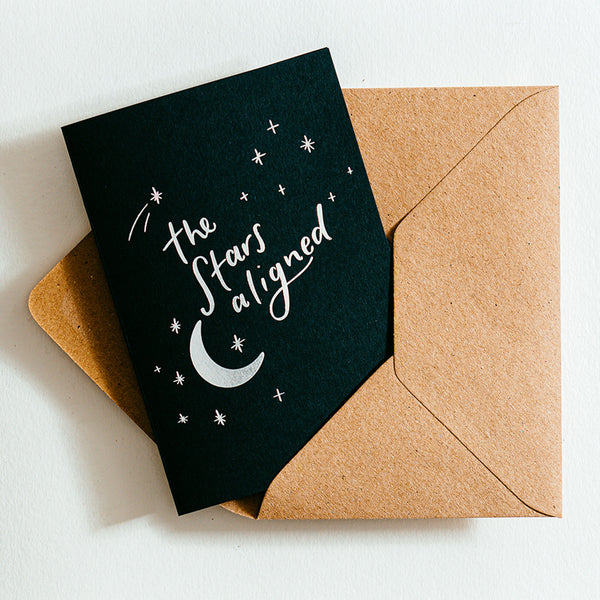 'The Stars Aligned' Recycled Coffee Cup Card