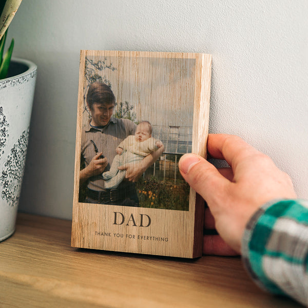 Personalised Thank You Gift for Dad Wood Block