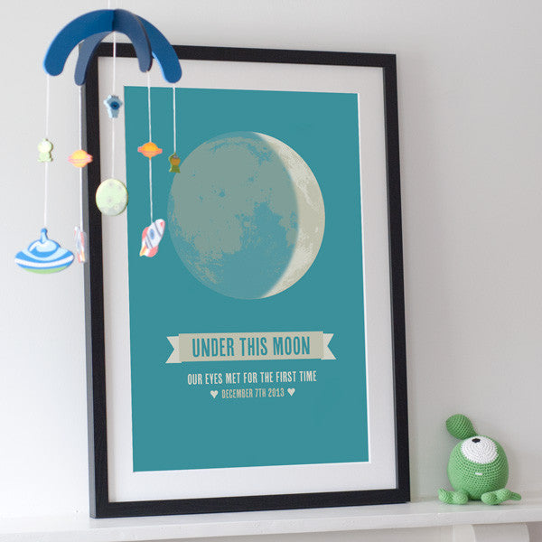 'Under This Moon' Personalised New Baby Print